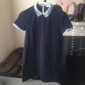 Zara Navy Blue Shift Dress with Collar